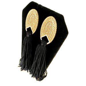 Goldtone Oval Earrings With Black Tassels